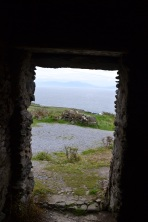 From inside one of the cottages looking out to sea