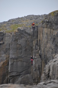 Rock climbers on the cliffs