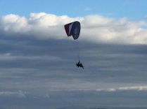 Motorized parasailing over Galway Bay