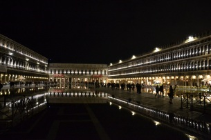 St. Mark's Square flooding at night