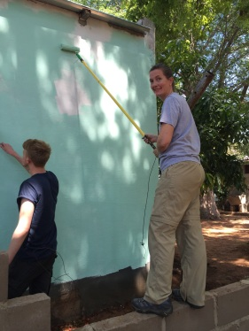 Painting a house at the Old People's Home