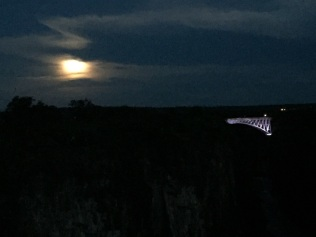 Full moon over the river on Christmas night