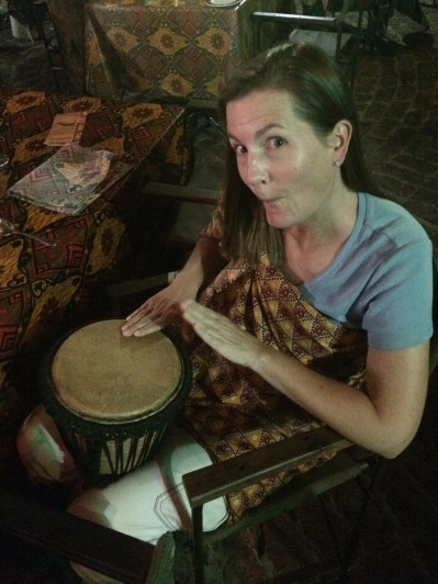 Playing drums at the Boma