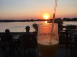 Sunset drinks at the Royal Livingstone