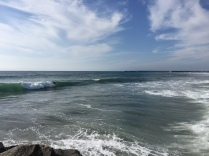 Watching the surfers from the jetty