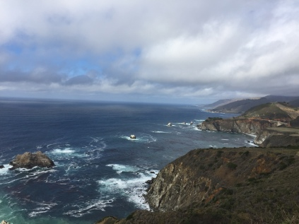 Pacific Coast Highway with Bixby Bridge on the far right