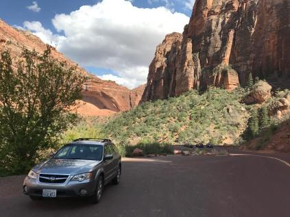 The trusty Subaru in Zion