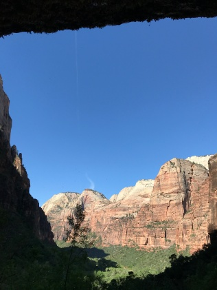 Angels Landing and surrounding peaks from under the Weeping Rock