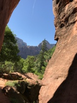 Looking back through the slot canyon