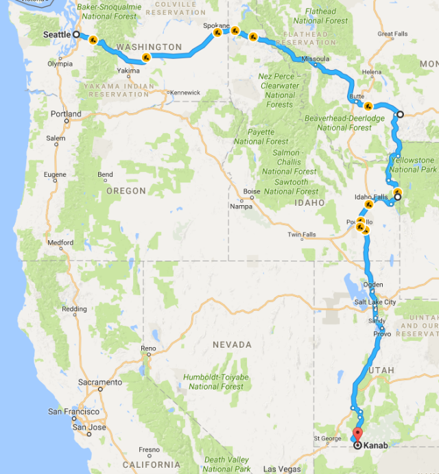 Seattle to Kanab